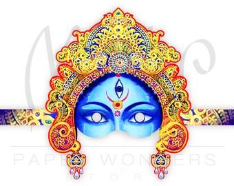 Kali mask. Indian mask. Party paper mask. Masquerade ball mask. Kali art. Mask. Indian party. Kali goddess mask. Paper mask. Kali art.
