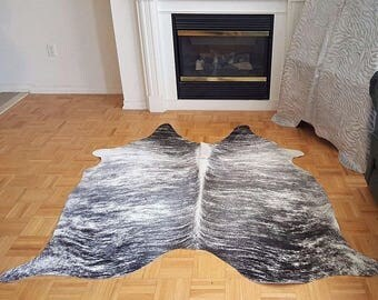 Grey Cow Hide Rug Brazilian 70 by 62 inches 1143