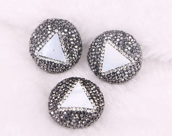 6pcs Pave Rhinestone Triangle Station Mother Of Pearl Connector Beads, Round shaped Gemstone Beads Jewelry Making