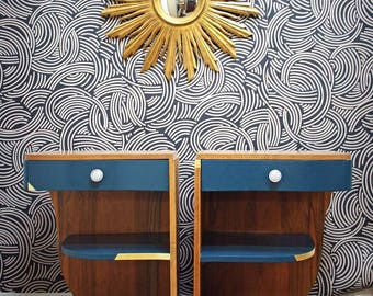 Pair of nightstands Deco peacock blue and gold