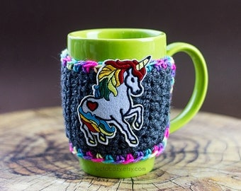 Unicorn Mug Cozy, Rainbow Mug Cozy, Crochet Mug Cozy, Tall Mug Cozy