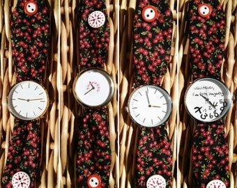 Female fabric watch. Black Watch with red flowers. Button closure. Different areas to choose. Original fabric watch.