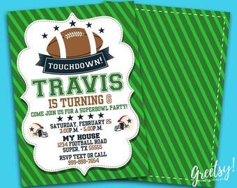 Superbowl Invitation, Superbowl Birthday, Superbowl Party, Superbowl Invites, Superbowl Printables, Superbowl Printable Digital Card, NFL