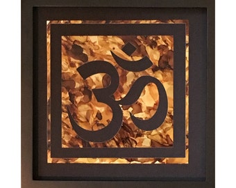 """OM symbol original painting / collage in shades of brown and gold (8""""x8"""" framed)"""