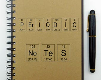 Notebook for School, Custom Notebook, Periodic Table,  Lab Notebook, Writing Journal, Graph, Bullet Journal, Spiral Notebook