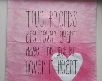 """Cushion cover 50 x 50 cm """"True Friends"""" red / pink heart, hand painted"""