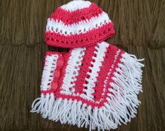 18 inch Doll Clothes  , Fits most other 18 inch Dolls. Pink and White Crocheted Poncho Set. Ready to Ship