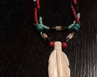 Native American handmade bone feather necklace with glass beads