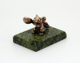 Tiny Purse Mouse   Purse Mouse  Symbol of wealth Figure Totem Mouse with a spoon