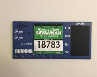 Race Bib and Medal Holder -Customizable (Your Name)Run Often, Run Long but Never Outrun your Joy of Running - chalkboard - 10k-5k-marathon