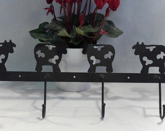 Iron Cows Wall Hooks in Black, Country Style Hooks
