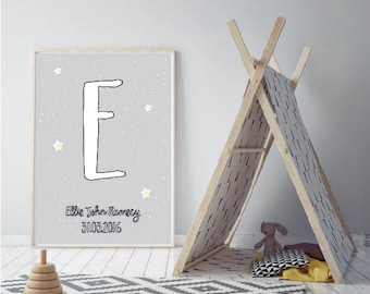 Dove Grey Personalised New Baby Name Wall Art