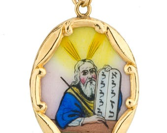 Intricate 14K Yellow Gold Hand Painted Porcelain Moses Ten Commandments Pendant