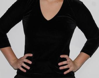 Black Velvet V-shape Top