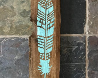 Blue Bird Feather Reclaimed Wood Wall Decor - Barnwood Sign - Hand Painted Rustic Sign