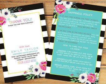 Happiness Policy - Customer Thank you Card with care instructions - LuLaRoe return policy - Marketing - 4x6 Card, Policy Card, White Flower