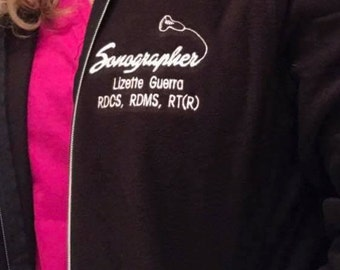 Personalized Sonographer Embroidered Fleece