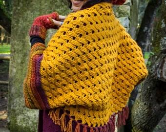 Wool Crocheted Hippie Shawl