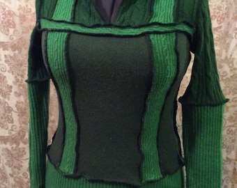 Green reconstructed upcycled recycled sweater