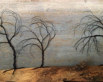 Windswept trees on driftwood,3D art,wall hanging