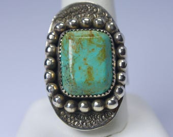 Turquoise & Stirling Silver Adjustable Ring-Handmade