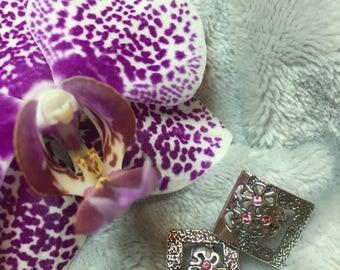 silver, handmade, pink flower, screw back earrings