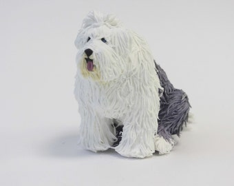 Figurine Bobtail dog breed, dog sculpture, dog figurine,dog sculpture