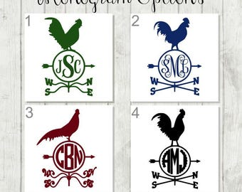 Monogram Rooster Decal -  Barn Yard Decal - Personalized Rooster Decal - Rooster Car Decal - Rooster Laptop Decal - Barn Yard Party Favors
