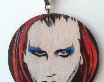 Marilyn Manson Omega and the Mechanical Animals Wood burned Portrait Circle Necklace