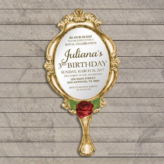 Classic Rose Birthday Invitation Sweet 16 Beauty Beast