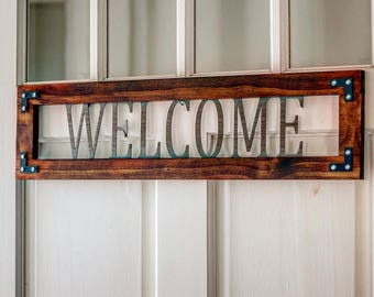 Welcome sign,wood welcome sign, wood and metal sign, rustic welcome sign, metal and wood sign, wood wall decor,metal wall decor,country sign