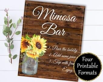 Bridal Shower Mimosa Bar Sign - Mimosa Sign Bridal Shower Decor - Mimosa Bar Printable - Floral Mimosa Bar Sign - Printable Mimosa Bar sign
