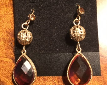 Vintage Gold with Brown Dangle Drop Earrings