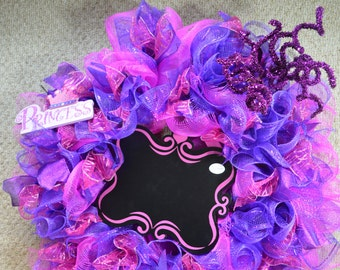 Wreath, Chalkboard, Home decor, pink and purple, princess