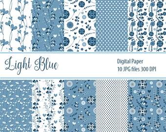 Blue Light Paper Pack, Digital Paper, Floral Paper, Floral textures, Retro texture
