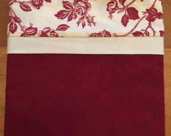 Hand Made Burgundy Rose Pillowcases - 100% Cotton