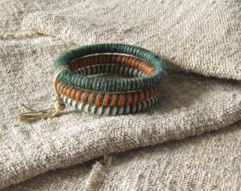 Wrapped wool bracelet, wool bangle bracelets, striped bracelets, fiber bangles, yarn bracelets, colorful fiber bracelets, eco bracelets