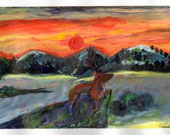 Freestyle Deer Original Painting