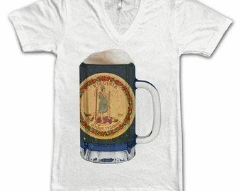 Ladies Virginia State Flag Beer Mug Tee, Home State Tee, State Pride, State Flag, Beer Tee, Beer T-Shirt, Beer Thinkers, Beer Lovers