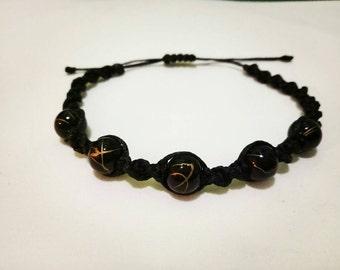 Macrame bracelet black with glass beads.