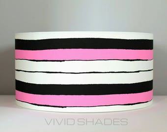 Geometric Scandinavian fabric 40cm or 45cm lampshade by vivid shades modern retro stylish funky scandi stripe pattern custom made drum shade