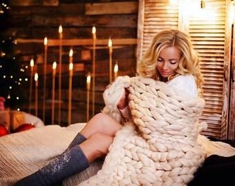 Merino wool blanket 100% merino Chunky knit blanket Hand knit Giant knit throw Giant knit. Wool throws. Wool blanket.