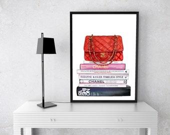 Chanel Bag Watercolour, Art Print, Black, gold, Coco Chanel, Handbag, Fashion Books, Watercolor, Fashion Illustration, couture