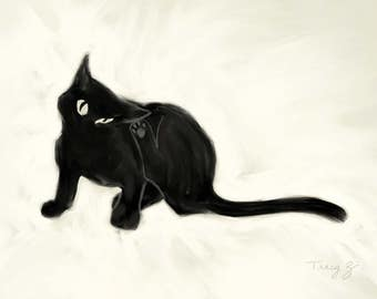 Large, giclee, print, 11x14, cat, black cat, Itchy