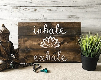 Yoga quotes wall art / Inhale exhale  / Yoga studio decor / Yoga studio / Yoga studio wall art / Yoga wall art / Home yoga studio