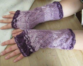 Lavender Purple Ombre Fingerless Gloves