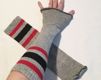 Grey Soccer Striped Arm Warmers Red Fingerless Gloves Sleeves Driving Hand Cover