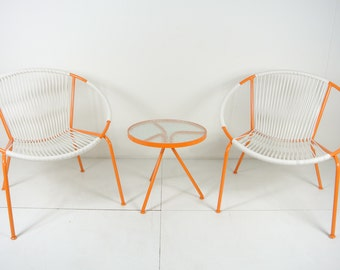 Mid-Century Hoop Chair Set with Side Table