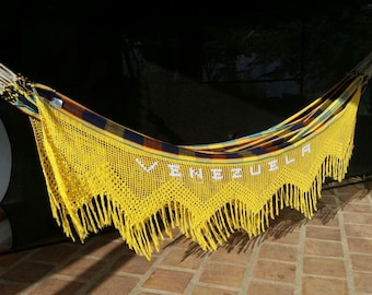Hammock, King Size. Hand Woven 100% Cotton with hand made yellow Bell Fringe Venezuela pattern, outdoors hammock,