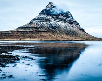 Landscape Photography, Iceland, Scenic Reflection of Kirkjufell Mountain on Water, Fine Art Photograph, Picture, Print, Home Decor